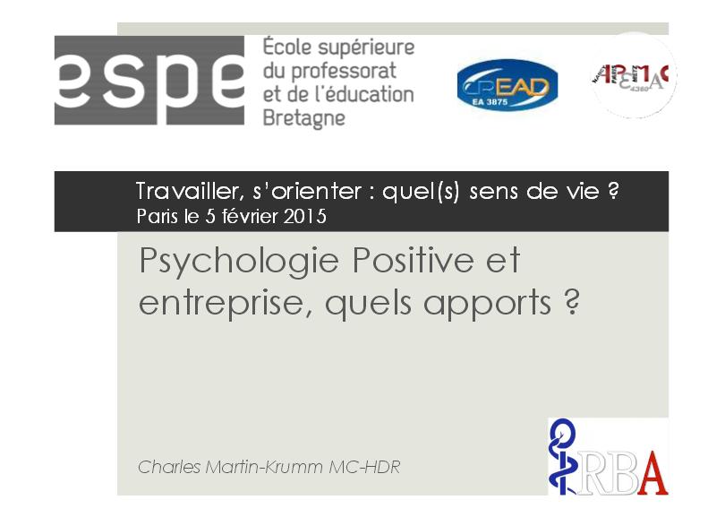 Psychologie Positive et entreprise, quels apports ?
