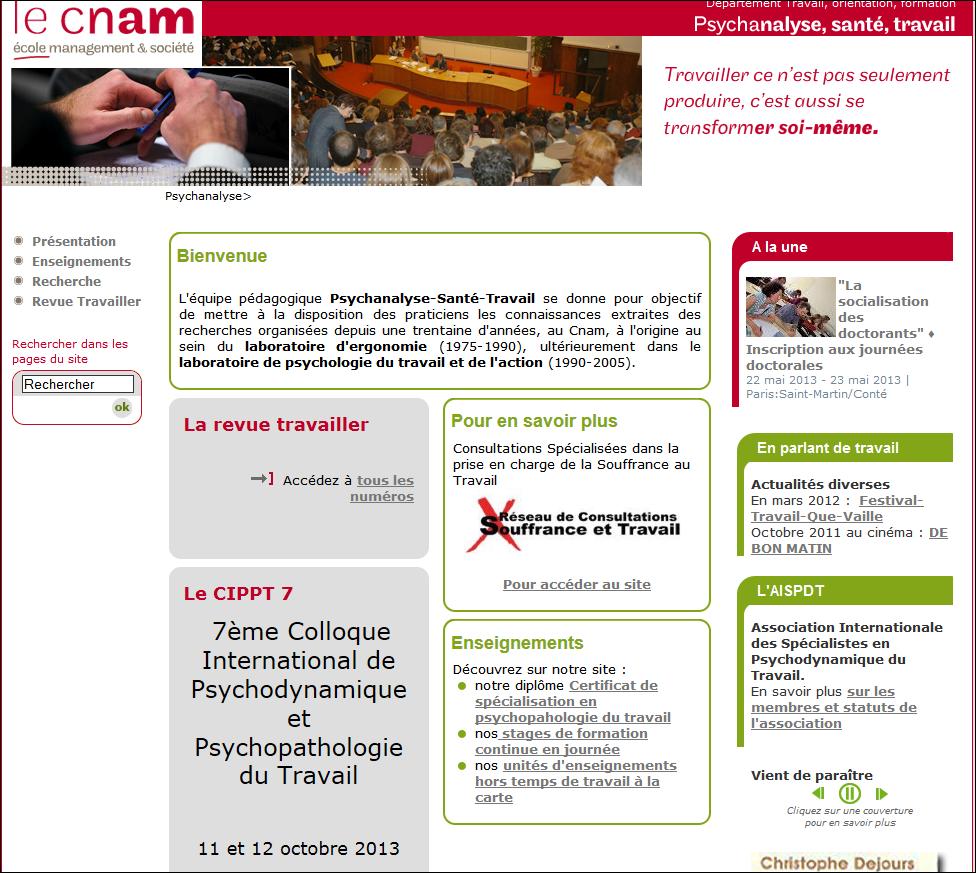 Vers le site web  Psychanalyse-Santé-Travail