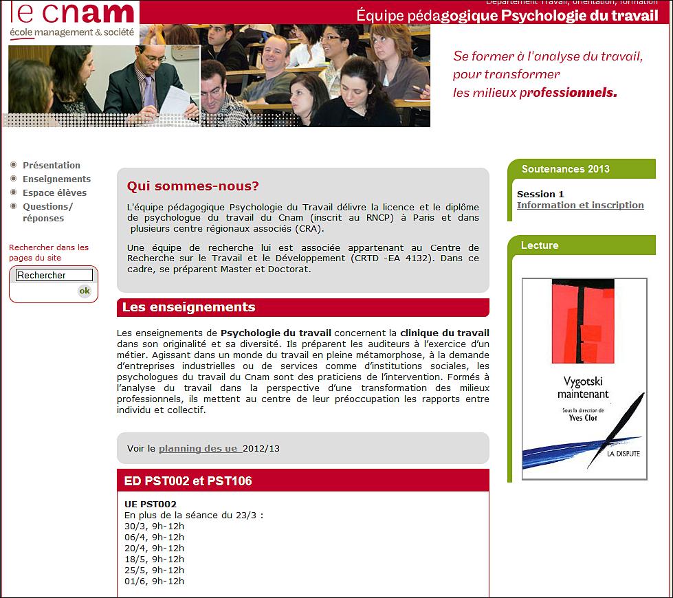 Vers le site web Psychologie du travail