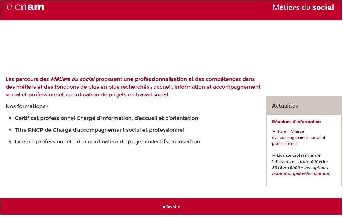 Site web Métiers du social